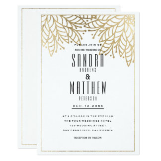 Carte Mariage floral d'or blanc élégant moderne de faux