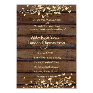 Carte Mariage floral en bois foncé de dentelle de Brown