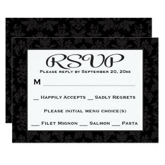 Carte Mariage floral/partie de damassé noire et grise de