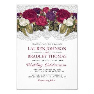 Carte Mariage floral rouge de dentelle de Marsala