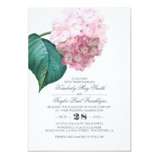 Carte Mariage floral vintage d'hortensia rose