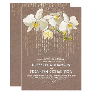 Carte Mariage floral vintage d'orchidées fascinantes et
