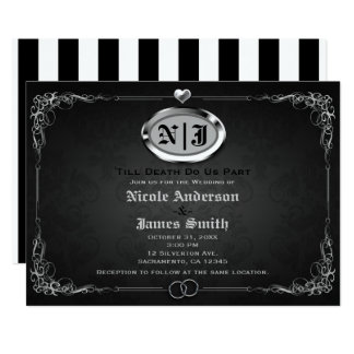 Carte Mariage gothique vintage argenté et noir de