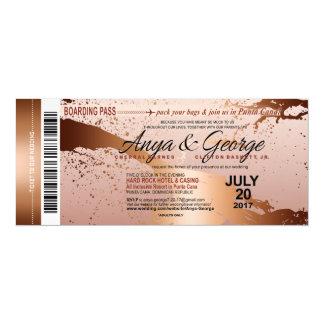 Carte Mariage grunge de feuille d'or rose d'en cuivre