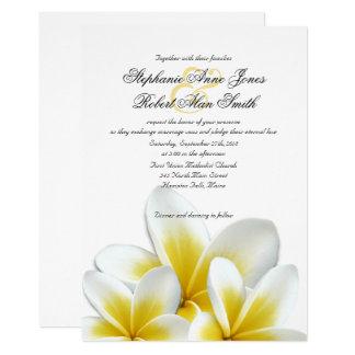 Carte Mariage hawaïen jaune de Frangipani de Plumeria