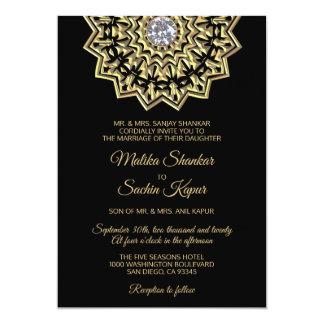 Carte Mariage indien de mandala de noir élégant d'or