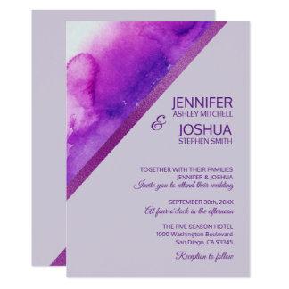Carte Mariage lilas pourpre de lavande d'aquarelle