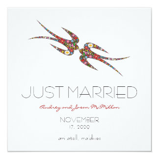 Carte Mariage marié de fleurs de ressort d'hirondelles