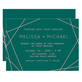 Carte Mariage minimaliste moderne vert