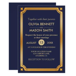 Carte Mariage moderne de bleu marine d'or de Faux de