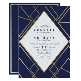 Carte Mariage moderne de bleu marine d'or géométrique de