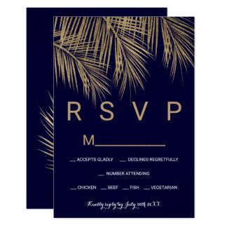 Carte Mariage moderne du bleu marine de palmier d'or