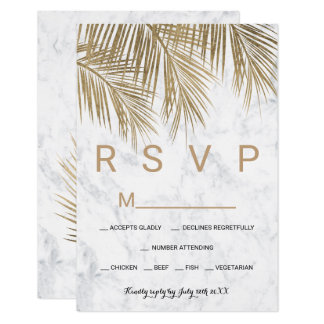 Carte Mariage moderne du marbre RSVP de palmier d'or de