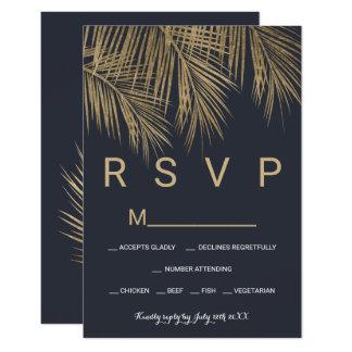 Carte Mariage moderne du palmier RSVP d'or de bleu