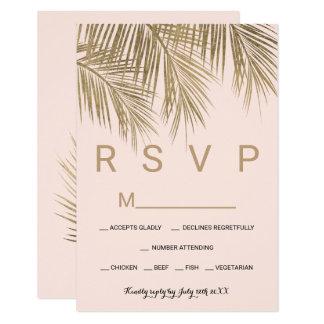 Carte Mariage moderne du rose RSVP de palmier d'or de