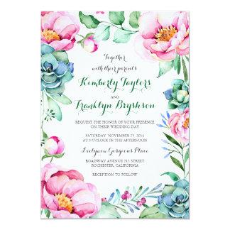 Carte Mariage moderne élégant de bouquet floral