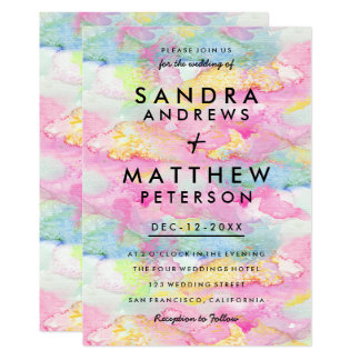 Carte Mariage moderne en pastel turquoise rose