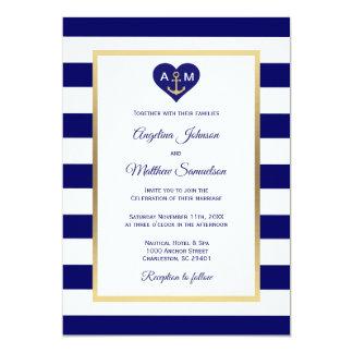 Carte Mariage nautique de bleu marine de coeur élégant