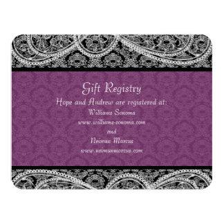 Carte Mariage noir de liste de cadeaux de damassé de
