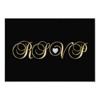 Carte Mariage noir élégant personnalisé de l'or RSVP