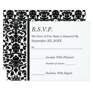 Carte Mariage noir et blanc de damassé de RSVP
