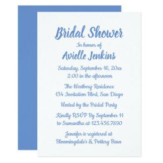 Carte Mariage nuptiale bleu et blanc de bleuet de douche