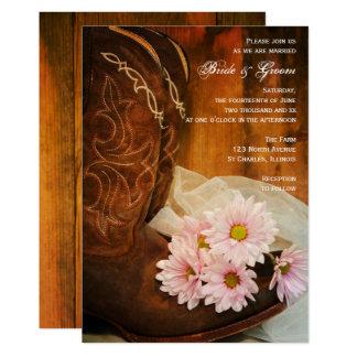 Carte Mariage occidental de marguerites de cowboy de