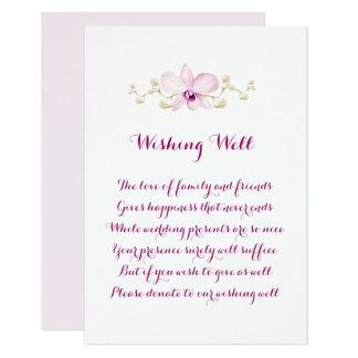 Carte Mariage pourpre exotique d'orchidée souhaitant les