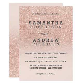 Carte Mariage rose d'ombre de rose de scintillement de