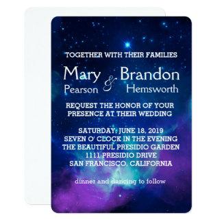 Carte Mariage rose turquoise de nébuleuse d'univers