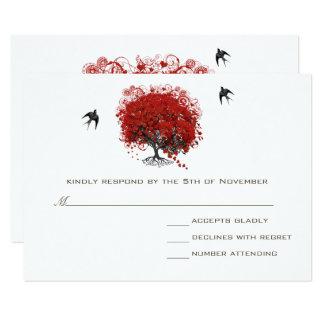 Carte Mariage rouge d'arbre de feuille de coeur