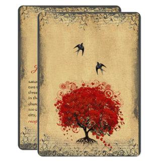 Carte Mariage rouge d'inséparable d'arbre de feuille