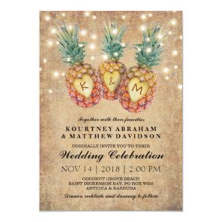 Carte Mariage tropical d'ananas exotique