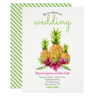 Carte Mariage tropical de fougères d'orchidées d'ananas