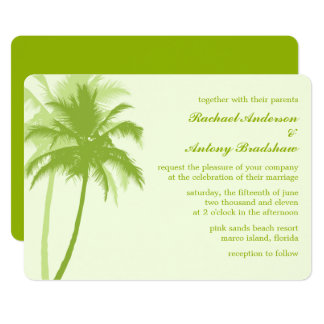 Carte Mariage tropical de palmiers verts