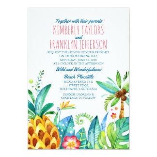 Carte mariage tropical de paumes de plage d'ananas