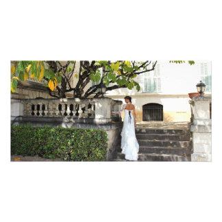 carte mariée automne marches arbre ombre carte avec photo