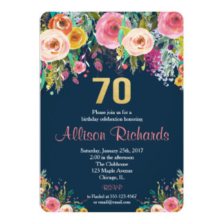 Carte marine florale d'aquarelle de soixante-dixième