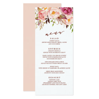 Carte Marsala et menu de mariage de jardin de Boho d'or