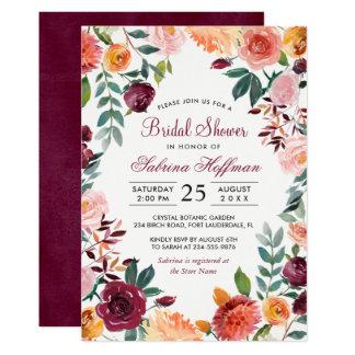 Carte Marsala rougissent douche nuptiale de fleur rose