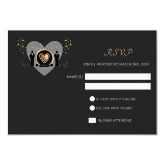 Carte masculine du mariage | RSVP de coeur d'or