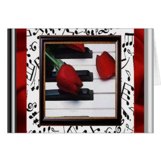 Carte mélancolique de musique et de note de roses