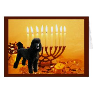 Carte Menorah de Chanukah de caniche