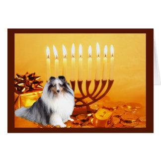 Carte Menorah de Sheltie Chanukah