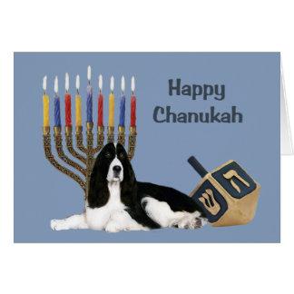 Carte Menorah Dre de Chanukah d'épagneul de