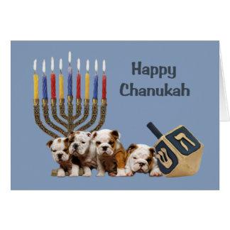 Carte Menorah Dreidel2 de Chanukah de bouledogue