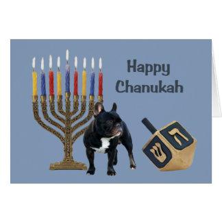 Carte Menorah Dreidel de Chanukah de bouledogue