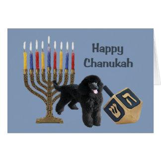 Carte Menorah Dreidel de Chanukah de caniche