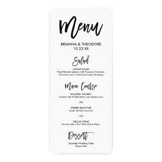 Carte Menu en lettres de mariage de main chic