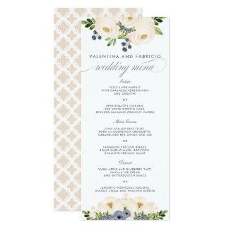 Carte Menu floral bleu et crème de Portofino de mariage
